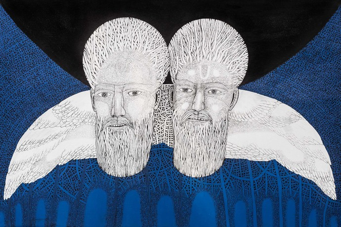 Priest 4 by Mangesh Narayanrao Kale, Illustration Painting, Acrylic & Ink on Canvas, Blue color