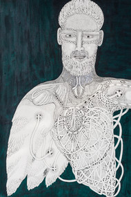 Priest 6 by Mangesh Narayanrao Kale, Illustration Painting, Acrylic & Ink on Canvas, Gray color