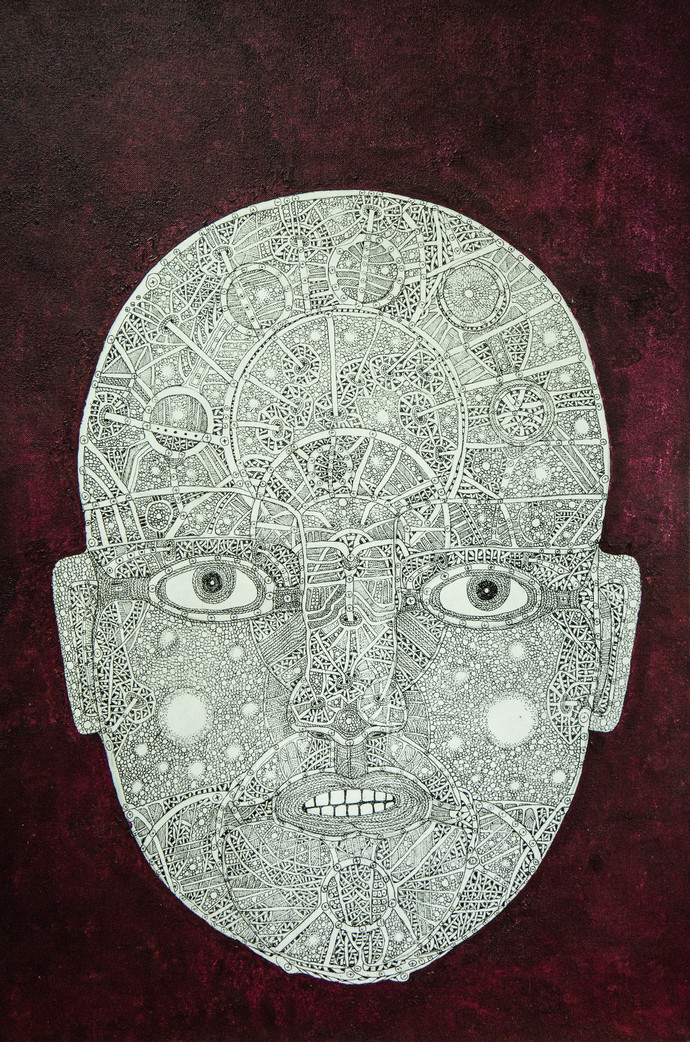 Face 1 by Mangesh Narayanrao Kale, Illustration Painting, Acrylic & Ink on Canvas, Brown color