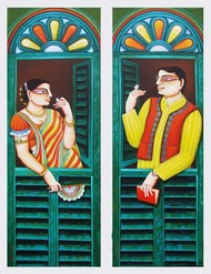 Untitled by Gautam Mukherjee, Traditional Painting, Acrylic on Canvas, Green color