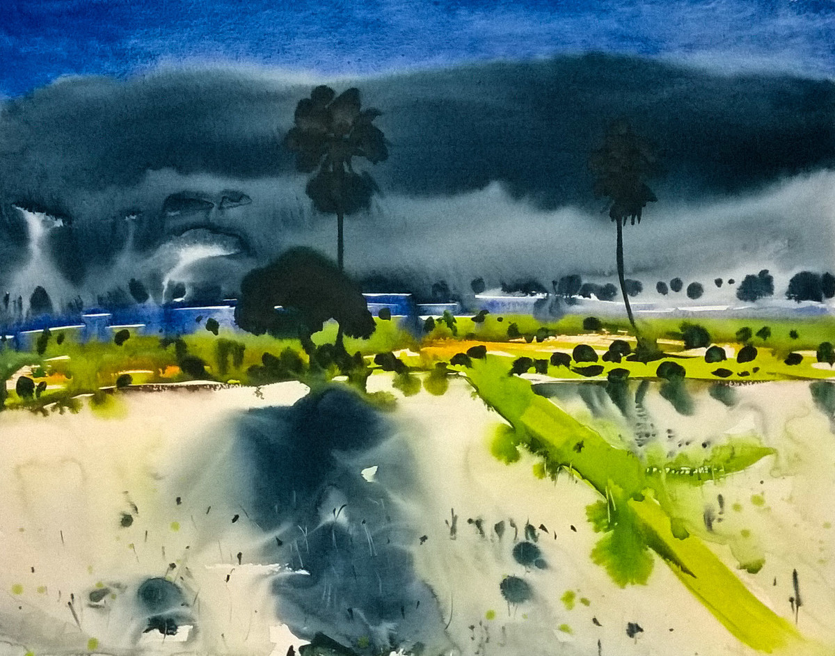 Calling by Santosh Keshari , Impressionism Painting, Watercolor on Paper, Green color