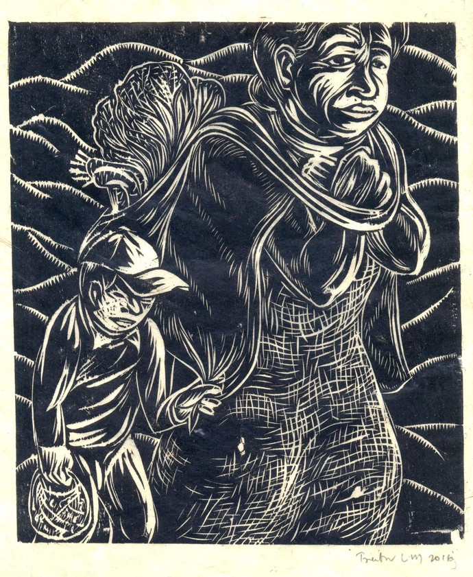 Where Home Is by Treibor Mawlong, Expressionism Printmaking, Wood Cut on Paper, Gray color