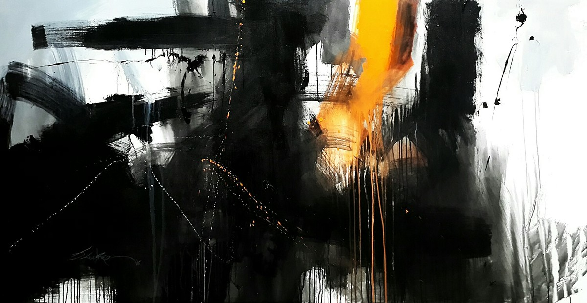 Shiv Paarwati by Gulrez Ali, Abstract Painting, Acrylic on Canvas, Gray color
