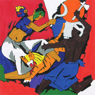 Kerala - II by M F Husain, Expressionism Serigraph, Serigraph on Paper, Brown color