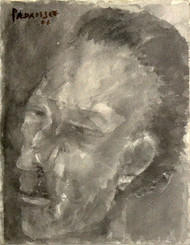 Self Portrait - Head Series by Akbar Padamsee, Expressionism Painting, Watercolor on Paper, Brown color