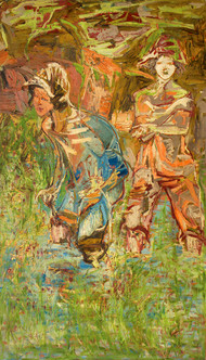 Two Kids by Deepak Shinde, Expressionism Printmaking, Giclee Print on Hahnemuhle Paper, Brown color