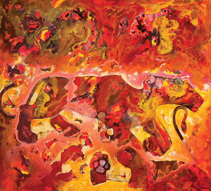 Mapping New Terrains by Deepak Shinde, Expressionism Printmaking, Giclee Print on Hahnemuhle Paper, Red color