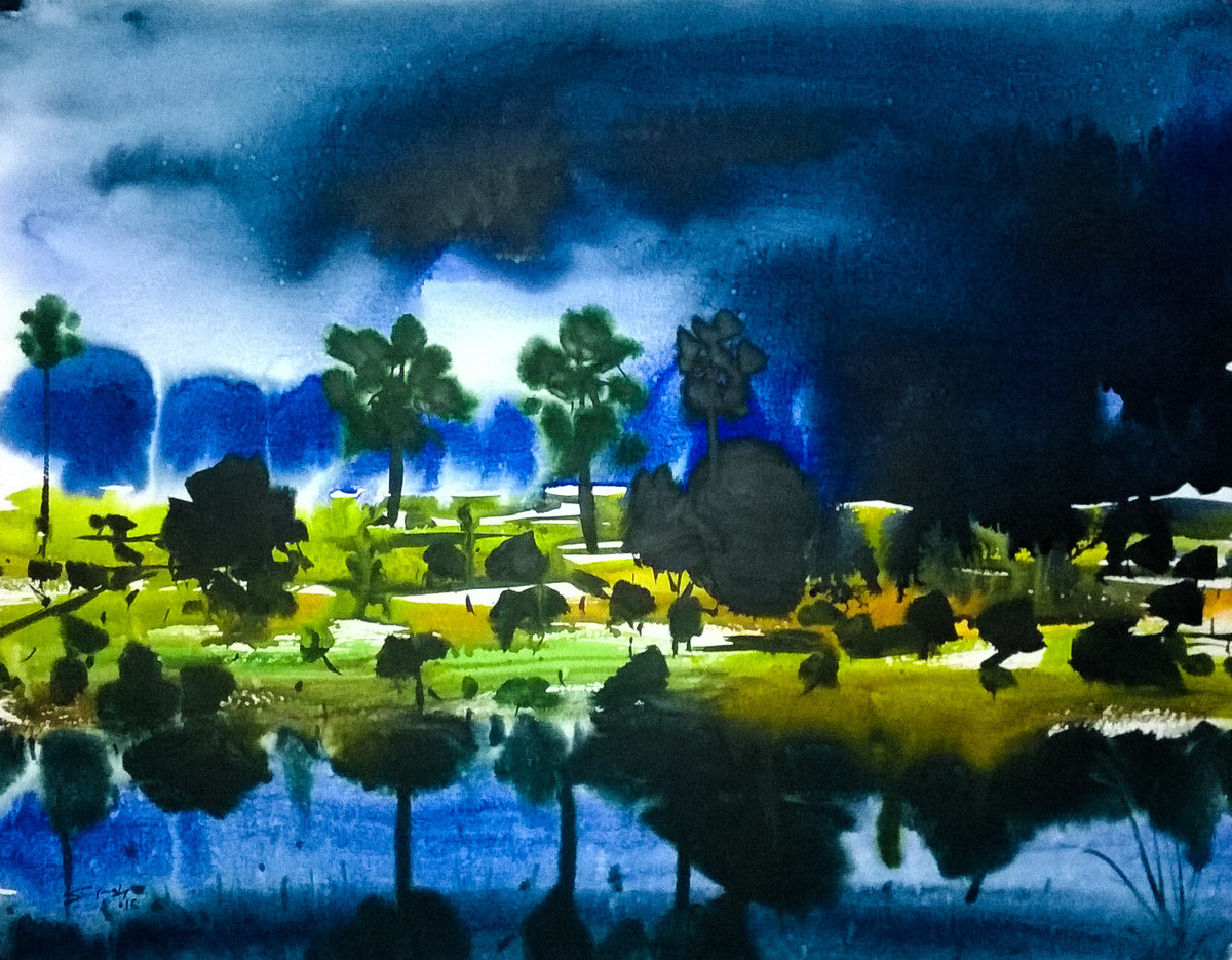 Going Dark by Santosh Keshari , Impressionism Painting, Watercolor on Paper, Blue color