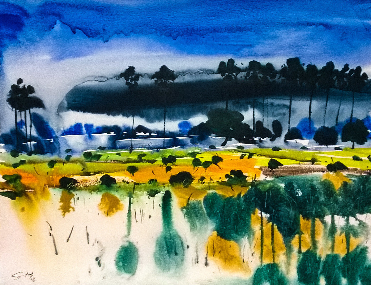 Reflection by Santosh Keshari , Impressionism Painting, Watercolor on Paper, Blue color