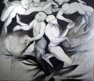 Untitled 2 by Amit Dutt, Impressionism Painting, Acrylic on Canvas, Gray color