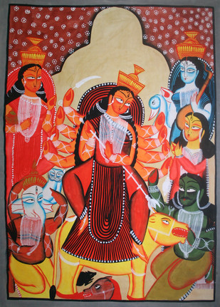Kalighat Style Painting by Unknown Artist, Folk Painting, Watercolor on Paper, Brown color