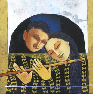 Love IV by Snehangshu Shekhar Das, Decorative Painting, Acrylic on Canvas, Beige color