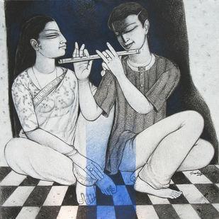 Love XI by Snehangshu Shekhar Das, Decorative Painting, Acrylic on Canvas, Gray color