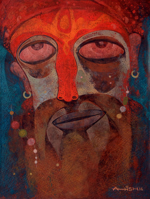 Holi man by Atish Mukherjee, Expressionism Painting, Tempera on Canvas Board, Brown color