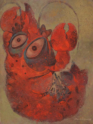 Red Queen by Atish Mukherjee, Expressionism Painting, Tempera on Canvas Board, Brown color