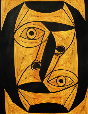 A Bargain Agreement - Suspicion (Light Yellow) by Dhanur Goyal, Expressionism Painting, Ink on Paper, Brown color