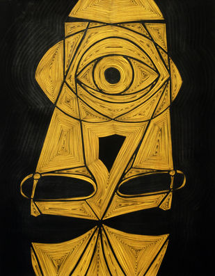 A Bargain Agreement - Suspicion (Yellow) by Dhanur Goyal, Expressionism Painting, Ink on Paper, Brown color