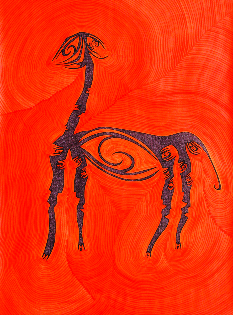 Losing Sight of Perspective - Orange 1 by Dhanur Goyal, Expressionism Painting, Ink on Paper, Red color