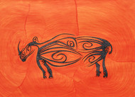 Losing Sight of Perspective - Orange 2 by Dhanur Goyal, Expressionism Painting, Ink on Paper, Red color