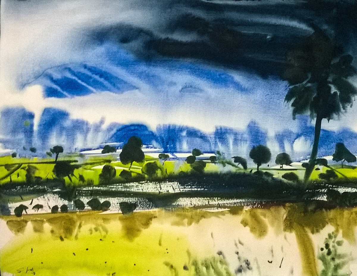 Alone by Santosh Keshari , Impressionism Painting, Watercolor on Paper, Blue color