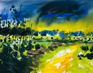 The Path by Santosh Keshari , Impressionism Painting, Watercolor on Paper, Green color
