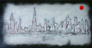  A Tale Of Two Cities 2 by Manisha Gawade, Impressionism Painting, Acrylic on Canvas, Grey color