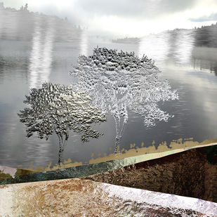 Misty Landscape by Gautam Chaturvedi, Digital Digital Art, Digital Print on Canvas, Gray color