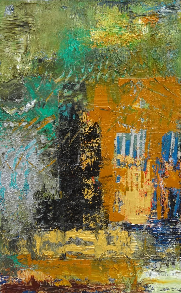 The Edge Of Color 2 by Nupur Kundu, Abstract Painting, Oil on Canvas, Brown color
