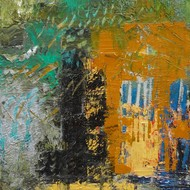 Nupur kundu  'olive scape'  oil on canvas  122 cm by 76 cm