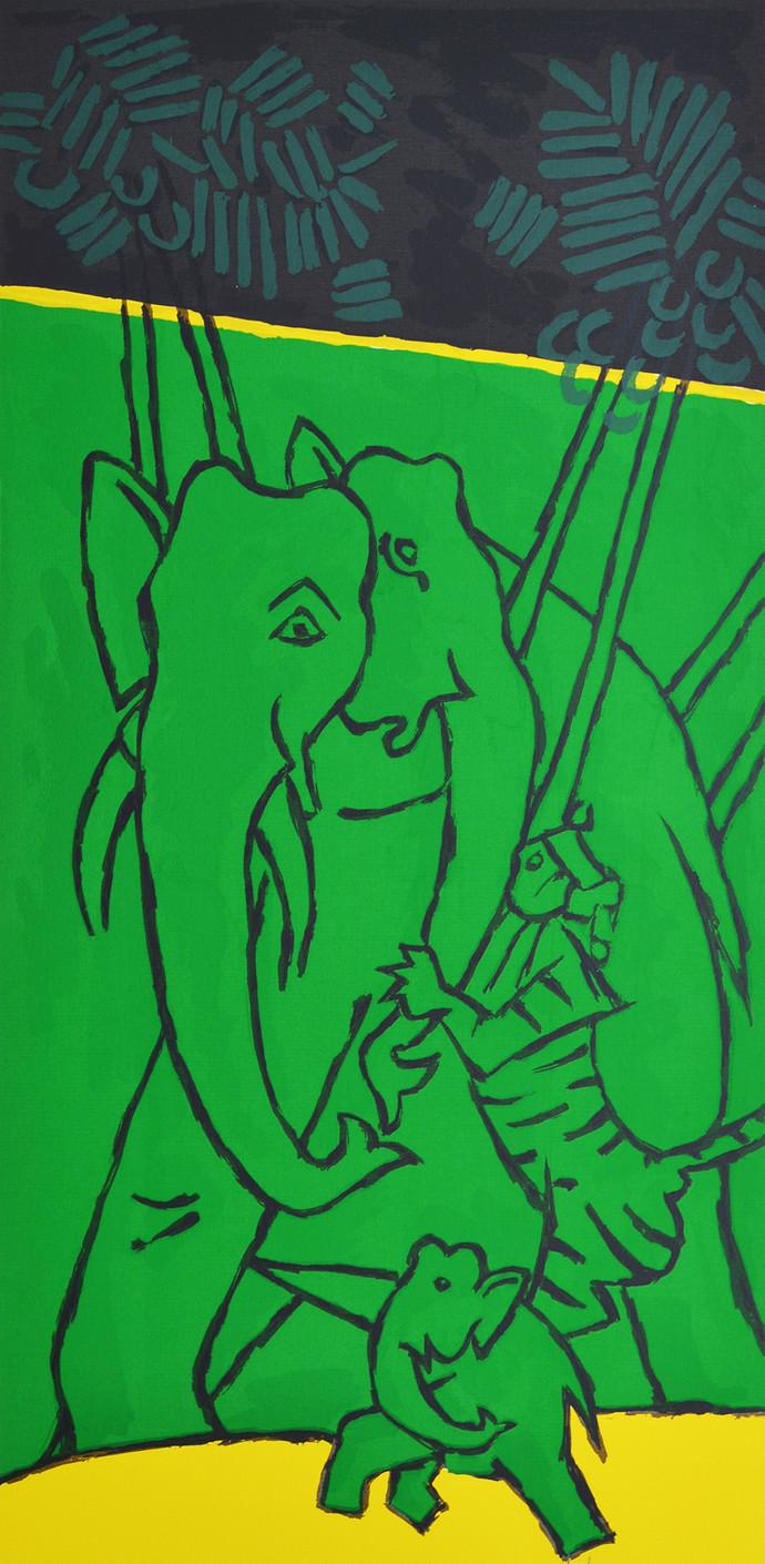 Folklore Kerala VI by M F Husain, Impressionism Serigraph, Serigraph on Paper, Green color