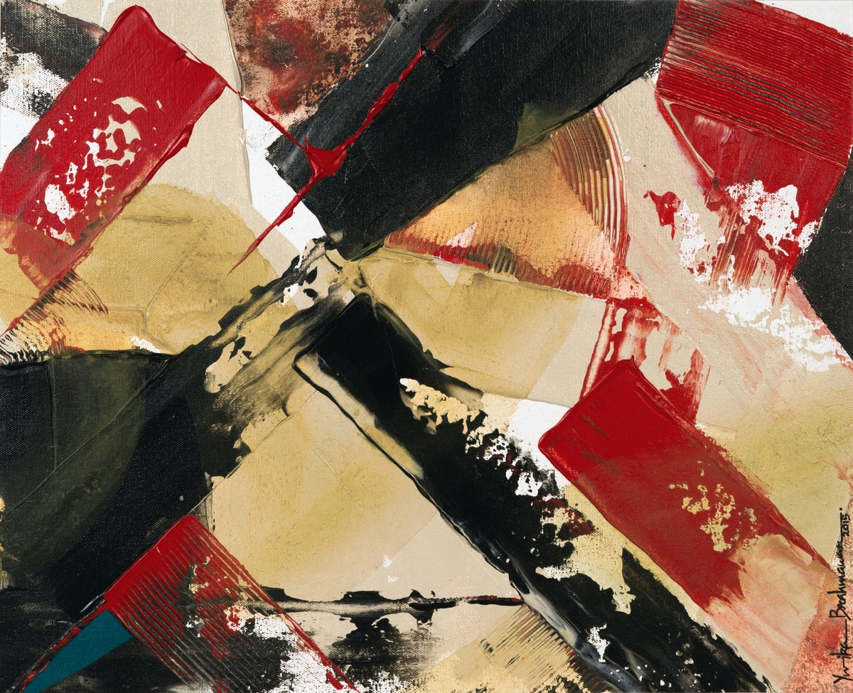 Space Dilution by Yuvika Brahmawar, Abstract Painting, Acrylic on Canvas, Brown color