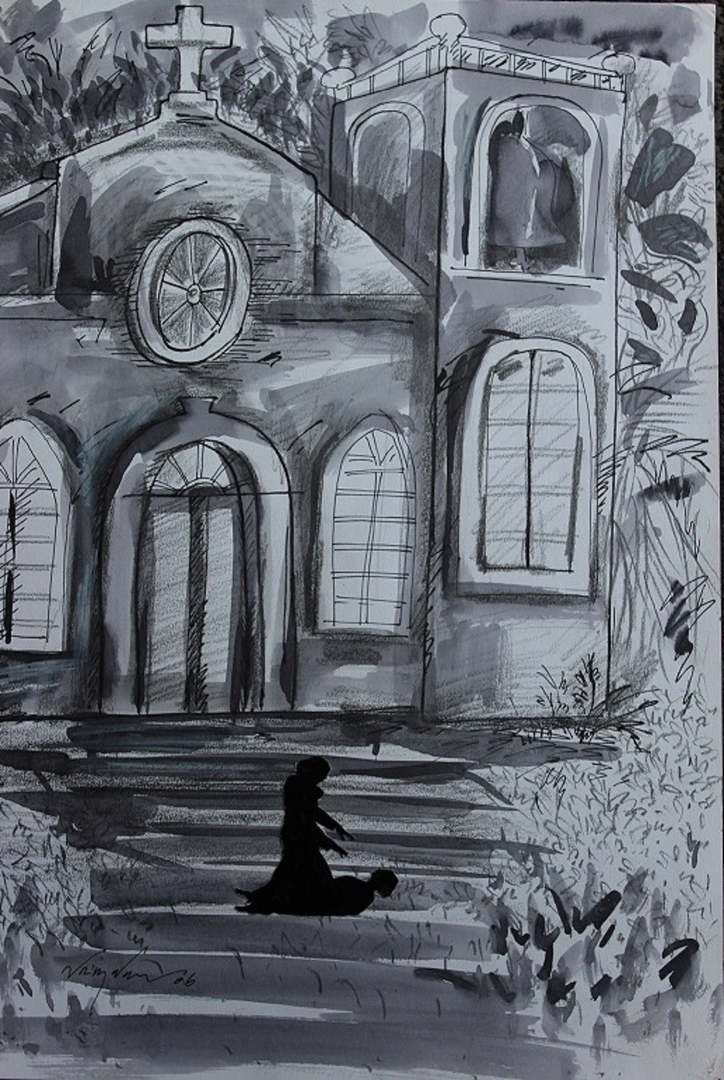 Untitled by Viraj Naik, Impressionism Painting, Pen & Ink on Paper, Gray color