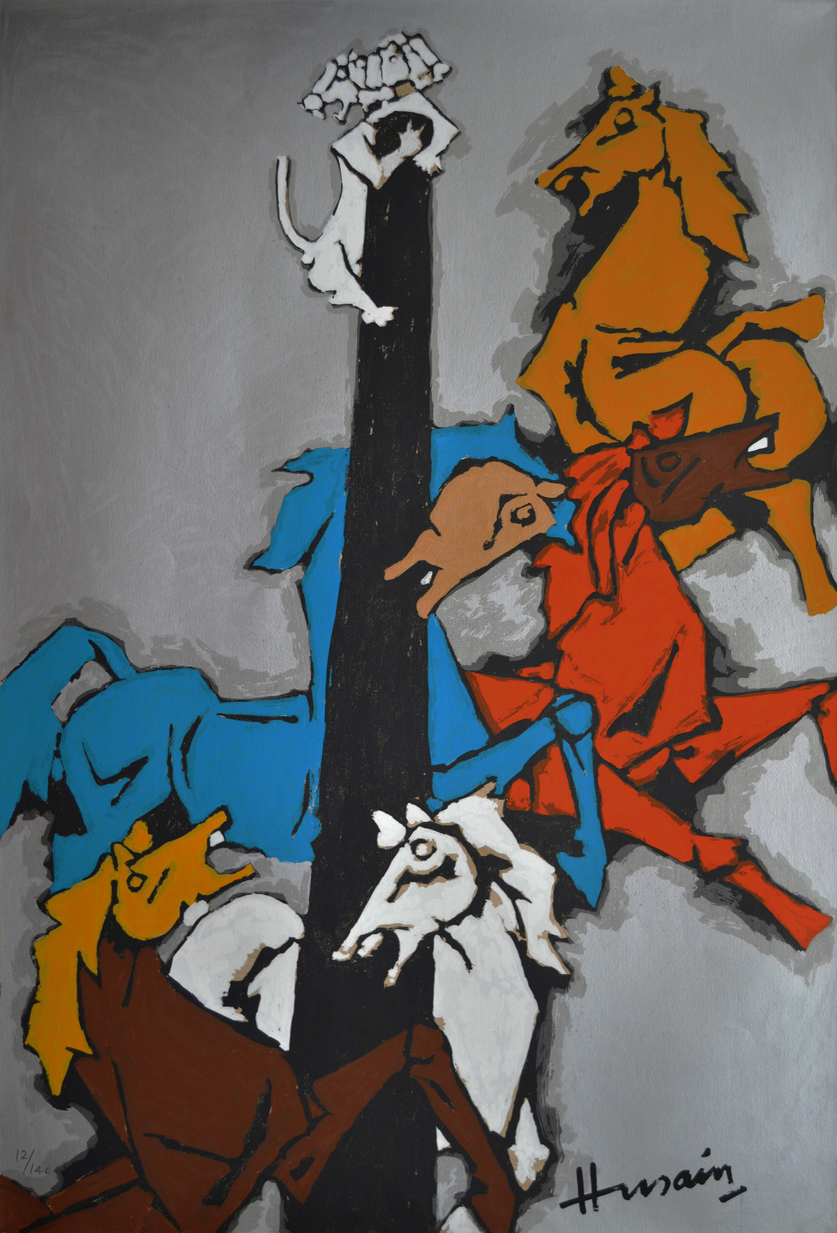 Horse (Appropriation) by M F Husain, Expressionism Serigraph, Serigraph on Paper, Gray color