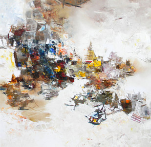 Banaras 9-2016 by Anand Narain, Impressionism Painting, Oil on Canvas, Gray color