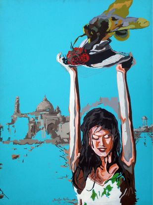 Social Ties 15 by Ranjan Kumar Mallik, Pop Art Painting, Acrylic on Canvas, Blue color