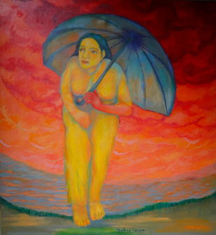 Life Garden by Aradhna Tandon, Impressionism Painting, Oil & Acrylic on Canvas, Brown color