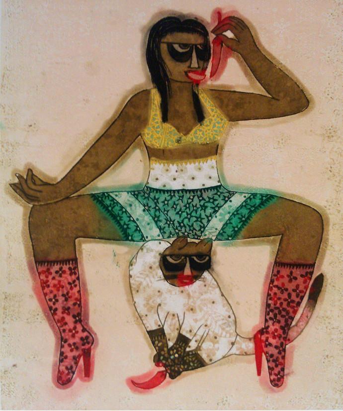 Teekhi Mirchi by Sonal Varshneya, Expressionism Printmaking, Etching and Aquatint, Beige color