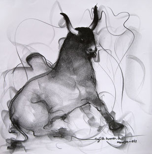 Bull Drawing 93 by Sujith Kumar GS Mandya, Impressionism Drawing, Pencil on Paper, Gray color