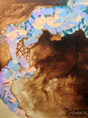Genie In The Cavern by Sahaya Sharma, Abstract Painting, Acrylic on Canvas, Brown color