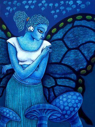 Yauvana VII by Ramchandra Pokale, Decorative Painting, Acrylic on Canvas, Blue color