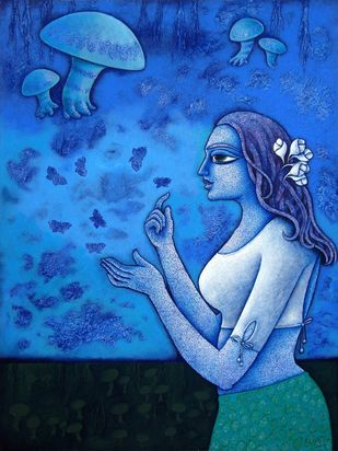 Yauvana X by Ramchandra Pokale, Decorative Painting, Acrylic on Canvas, Blue color