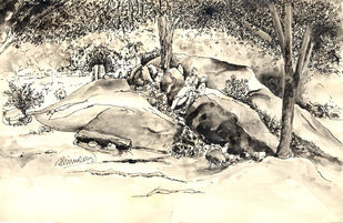 Cubbon Park 1, Bangalore by Badal Majumdar, Illustration Drawing, Pen & Ink on Paper, Beige color