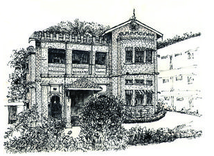 Stone Building (demolished) at M. G. Road, Bangalore by Badal Majumdar, Illustration Drawing, Pen & Ink on Paper, Gray color