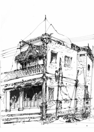 A Traditional Building with Monkey-Top, Ashok Nagar, Bangalore. by Badal Majumdar, Illustration Drawing, Pen & Ink on Paper, Gray color