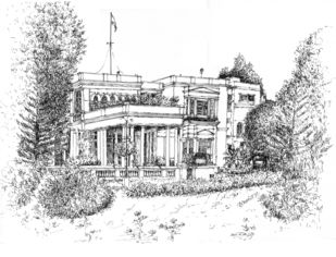 RAJ BHAVAN ( Governor House), Bangalore by Badal Majumdar, Illustration Drawing, Pen & Ink on Paper, Gray color