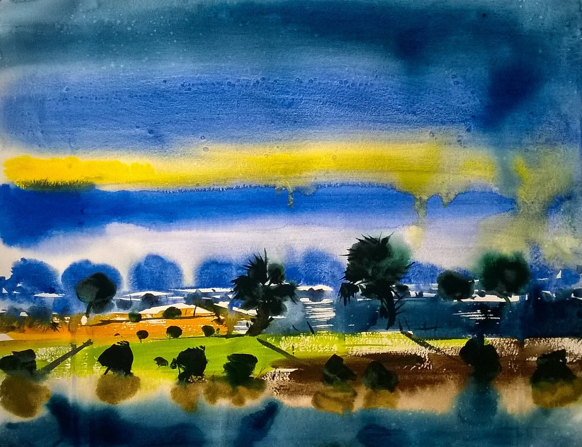 Stillness by Santosh Keshari , Impressionism Painting, Watercolor on Paper, Blue color