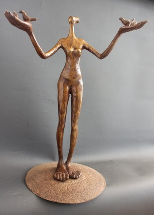 One with Nature by Shanta Samant, Traditional Sculpture | 3D, Bronze, Gray color