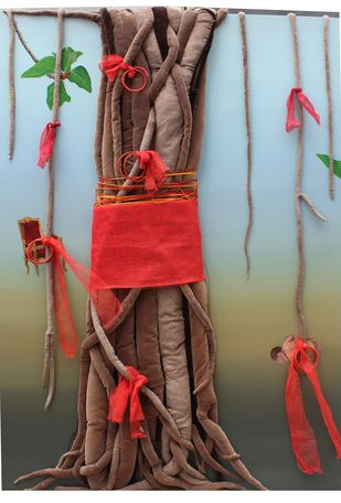 kalapvriskha by Pranati Das, Decorative Sculpture | 3D, Mixed Media on Canvas, Brown color