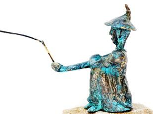 Fisherman by Usha Ramachandran, Decorative, Impressionism Sculpture | 3D, Bronze, White color