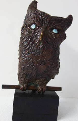 The wise owl. by Usha Ramachandran, Decorative Sculpture | 3D, Bronze, Gray color